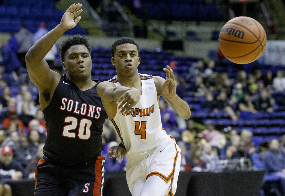 Lanphier's TJ Price passes the ball under pressure from Springfield's Caleb Small during the Boys City Tournament at the Bank of Springfield Center Friday, Jan. 18, 2019.  [Ted Schurter/The State Journal-Register]