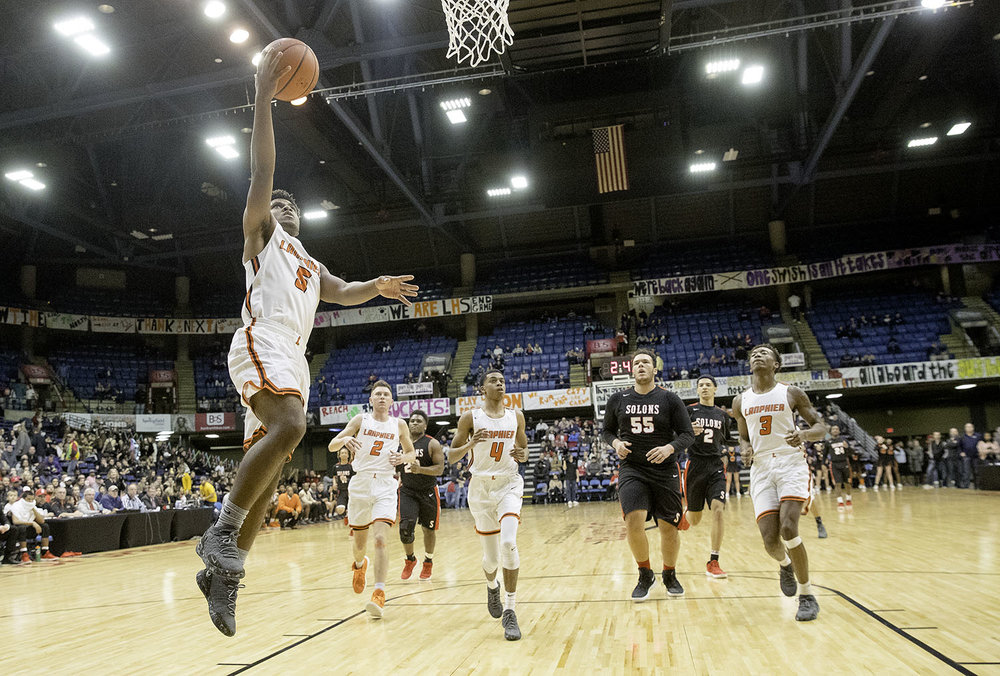 Lanphier's Stanley Morgan  scores two against Springfield during the Boys City Tournament at the Bank of Springfield Center Friday, Jan. 18, 2019.  [Ted Schurter/The State Journal-Register]