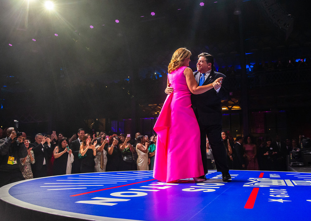 "Illinois Governor J.B. Pritzker dances with his wife M.K. Pritzker during their first dance to ""How Sweet It Is (To Be Loved By You)"" at the Inaugural Ball at the Exposition Building on the Illinois State Fairgrounds, Monday, Jan. 14, 2019, in Springfield, Ill. [Justin L. Fowler/The State Journal-Register]"
