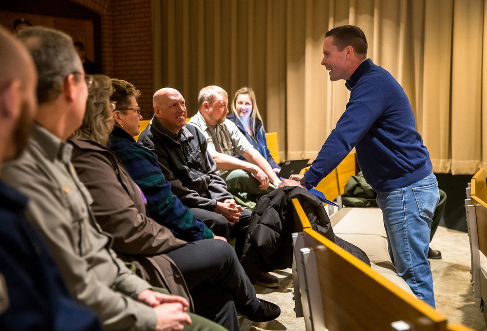 U.S. Rep. Rodney Davis, R-Taylorville, visits with National Park Service employees to discuss the effects of the government shut down on them and the long term effects to the Lincoln Home National Historic Site during a press conference inside the site's theatre, Friday, Feb. 1, 2019, in Springfield, Ill. [Justin L. Fowler/The State Journal-Register]