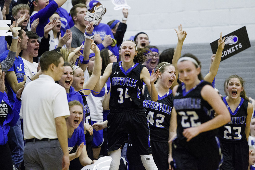 Greenview's Natalie Iberg and the Lady Comets celebrate on the sidelines after Rylee Pickett drained a three against Hillsboro during the Girls Class 2A Sectional in Hillsboro Thursday, Feb. 14, 2019. [Ted Schurter/The State Journal-Register]
