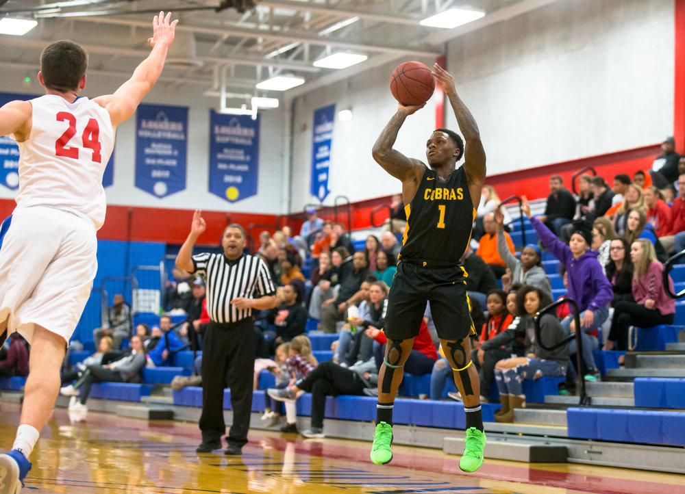 Parkland College's Yaakema Rose Jr. (1) launches a 3-pointer against Lincoln Land Community College in the first half at Lincoln Land Community College's Cass Gymnasium, Wednesday, Feb. 20, 2019, in Springfield, Ill. [Justin L. Fowler/The State Journal-Register]