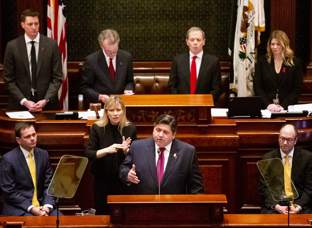 Gov. J.B. Pritzker delivers his Budget Address to a joint session of the General Assembly Wednesday, Feb. 20, 2019 at the Capitol in Springfield, Ill. [Rich Saal/The State Journal-Register]