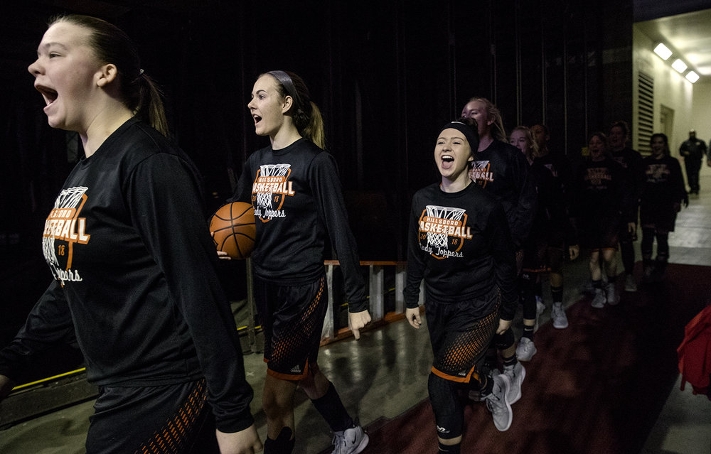 The Hillsboro Hilltoppers chant as they take the court for warm-ups before facing Marshall during the Class 2A Girls Basketball State Semifinals at Redbird Arena in Normal Friday, Feb. 22, 2019. [Ted Schurter/The State Journal-Register]