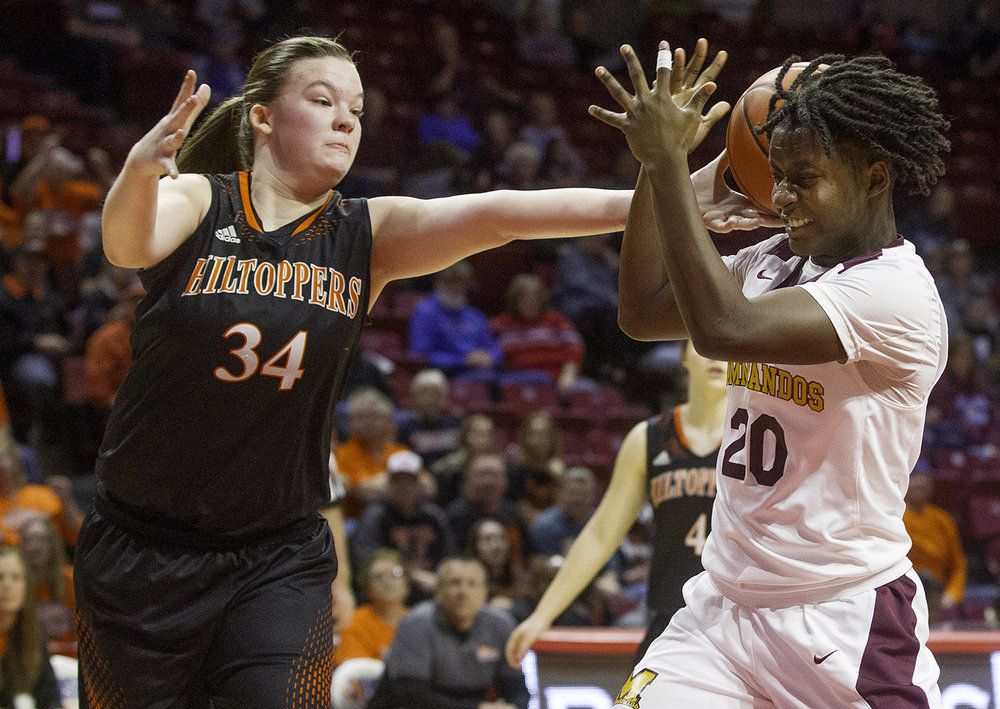 Hillsboro's Aubrey Rupert  snares a rebound in front of Marshall's Dashiera Butts during the Class 2A Girls Basketball State Semifinals at Redbird Arena in Normal Friday, Feb. 22, 2019. [Ted Schurter/The State Journal-Register]
