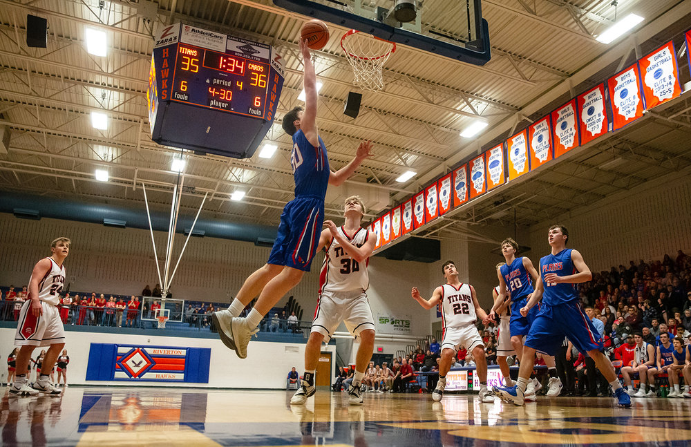 Pleasant Plains' Joel Niermann (30) goes up for a basket against West Hancock in the second half during the Class 2A Riverton Sectional Semifinals at the Hawk Center, Wednesday, Feb. 27, 2019, in Riverton, Ill. [Justin L. Fowler/The State Journal-Register]