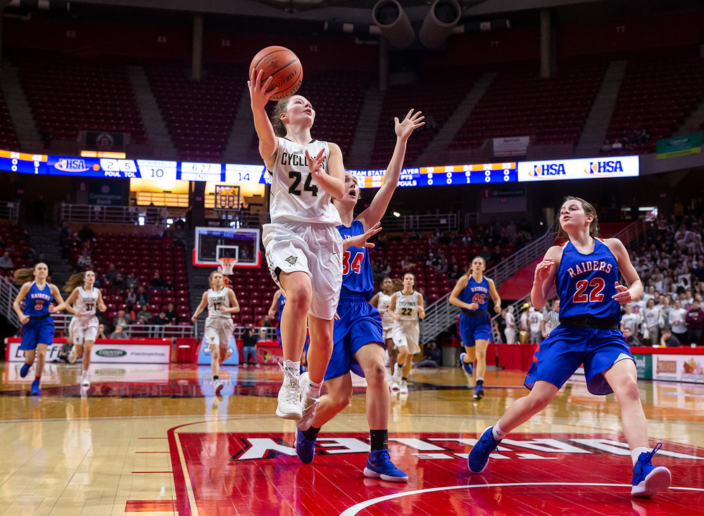 Sacred Heart-Griffin's Sofie Lowis (24) attempts a layup on a fast break against Glen Ellyn Glenbard South's Alex Wilharm (34) in the second quarter during the IHSA Class 3A State Tournament semifinals at Redbird Arena, Friday, March 1, 2019, in Normal, Ill. [Justin L. Fowler/The State Journal-Register]