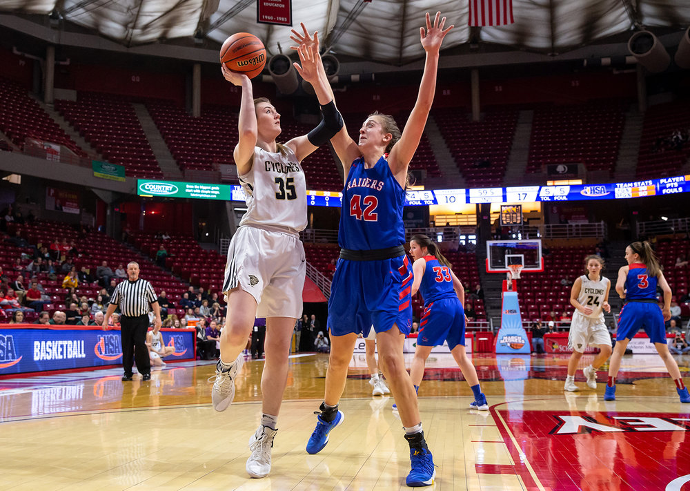 Sacred Heart-Griffin's Victoria Zeigler (35) attempts a shot over Glen Ellyn Glenbard South's Maggie Bair (42) in the second quarter during the IHSA Class 3A State Tournament semifinals at Redbird Arena, Friday, March 1, 2019, in Normal, Ill. [Justin L. Fowler/The State Journal-Register]