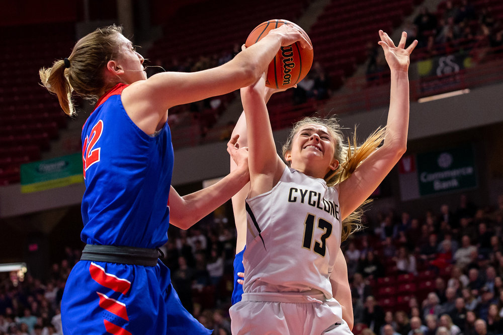 Sacred Heart-Griffin's Payton Vorreyer (13) has her shot blocked by Glen Ellyn Glenbard South's Maggie Bair (42) in the second quarter during the IHSA Class 3A State Tournament semifinals at Redbird Arena, Friday, March 1, 2019, in Normal, Ill. [Justin L. Fowler/The State Journal-Register]