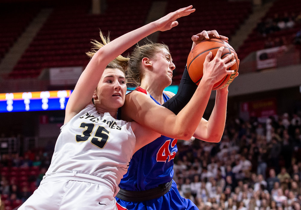 Sacred Heart-Griffin's Victoria Zeigler (35) goes for a rebound against Glen Ellyn Glenbard South's Maggie Bair (42) in the second quarter during the IHSA Class 3A State Tournament semifinals at Redbird Arena, Friday, March 1, 2019, in Normal, Ill. [Justin L. Fowler/The State Journal-Register]