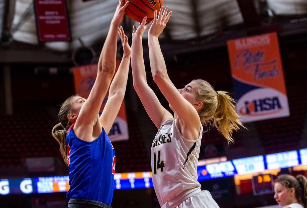 Glen Ellyn Glenbard South's Maggie Bair (42) blocks a shot from Sacred Heart-Griffin's Addison Scarlette (14) in the third quarter during the IHSA Class 3A State Tournament semifinals at Redbird Arena, Friday, March 1, 2019, in Normal, Ill. [Justin L. Fowler/The State Journal-Register]