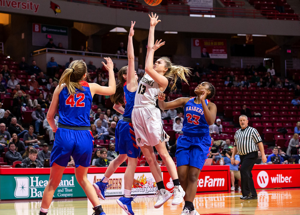 Sacred Heart-Griffin's Payton Vorreyer (13) puts a shot up over Glen Ellyn Glenbard South's Raquel LaPonte (22) for a score in the third quarter during the IHSA Class 3A State Tournament semifinals at Redbird Arena, Friday, March 1, 2019, in Normal, Ill. [Justin L. Fowler/The State Journal-Register]