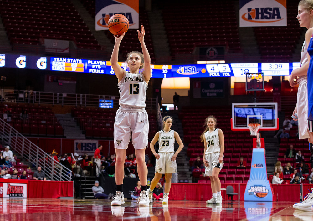 Sacred Heart-Griffin's Payton Vorreyer (13) shoots a free throw against Glen Ellyn Glenbard South in the third quarter during the IHSA Class 3A State Tournament semifinals at Redbird Arena, Friday, March 1, 2019, in Normal, Ill. [Justin L. Fowler/The State Journal-Register]