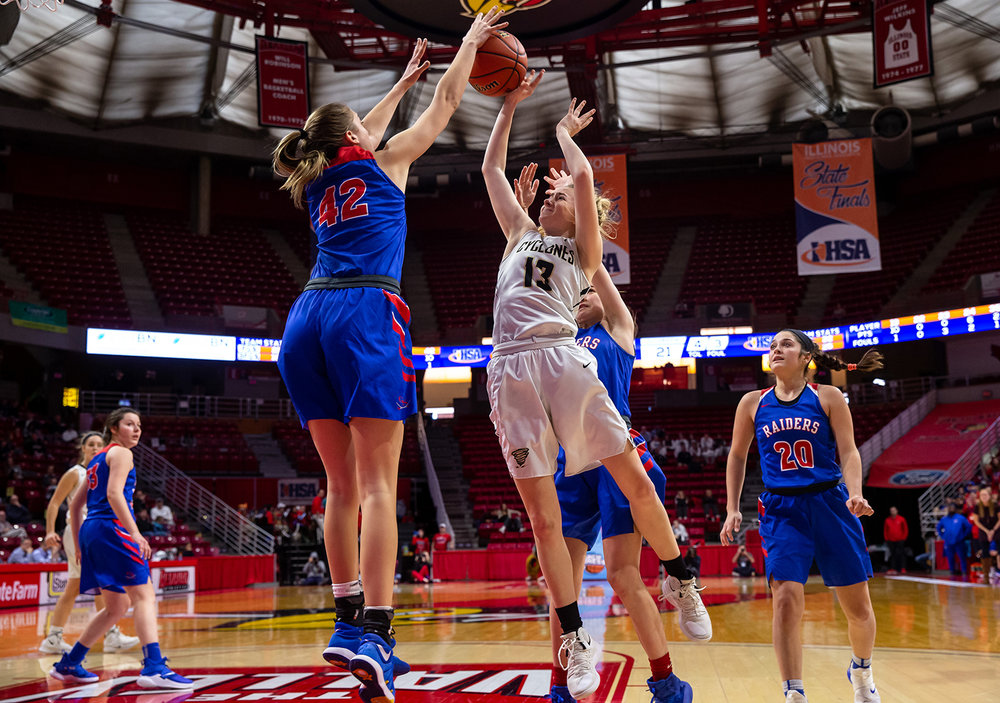 Glen Ellyn Glenbard South's Maggie Bair (42) blocks a shot from Sacred Heart-Griffin's Payton Vorreyer (13) in the fourth quarter during the IHSA Class 3A State Tournament semifinals at Redbird Arena, Friday, March 1, 2019, in Normal, Ill. [Justin L. Fowler/The State Journal-Register]