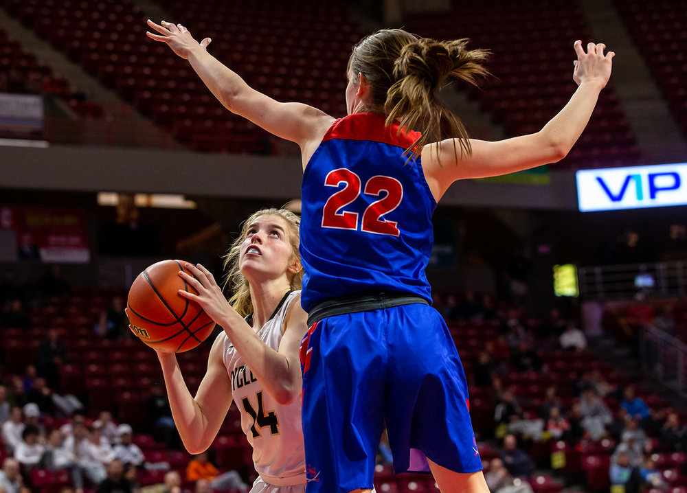 Sacred Heart-Griffin's Addison Scarlette (14) pumps fakes Glen Ellyn Glenbard South's Raquel LaPonte (22) before taking a shot in the fourth quarter during the IHSA Class 3A State Tournament semifinals at Redbird Arena, Friday, March 1, 2019, in Normal, Ill. [Justin L. Fowler/The State Journal-Register]