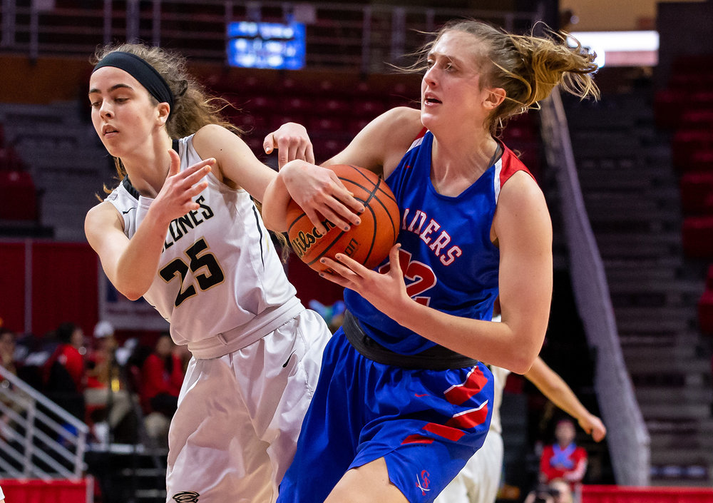 Sacred Heart-Griffin's Jillian Hulcher (25) and Glen Ellyn Glenbard South's Maggie Bair (42) get tangled up battling for possession of the ball in the fourth quarter during the IHSA Class 3A State Tournament semifinals at Redbird Arena, Friday, March 1, 2019, in Normal, Ill. [Justin L. Fowler/The State Journal-Register]