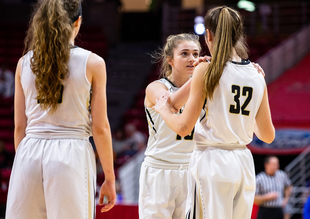 Sacred Heart-Griffin's Payton Vorreyer (13) encourages Maddie Manker (32) after the Cyclones come out of a timeout against Glen Ellyn Glenbard South late in the fourth quarter during the IHSA Class 3A State Tournament semifinals at Redbird Arena, Friday, March 1, 2019, in Normal, Ill. [Justin L. Fowler/The State Journal-Register]