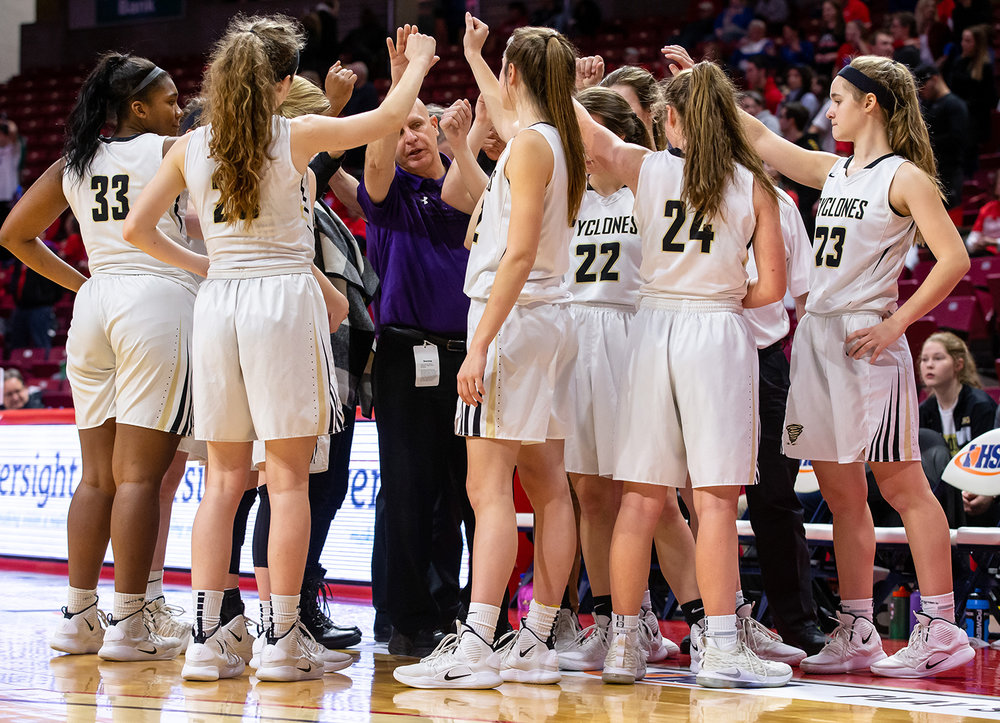 Sacred Heart-Griffin girls basketball head coach Steve Klunick talks to his team in the final seconds of the game after calling a timeout as the Cyclones trail Glen Ellyn Glenbard South during the IHSA Class 3A State Tournament semifinals at Redbird Arena, Friday, March 1, 2019, in Normal, Ill. [Justin L. Fowler/The State Journal-Register]