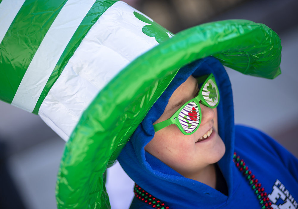 David Morgan, 11, shows his love for St. Patrick's Day as he dawned his attire for the annual St. Patrick's Day Parade in downtown Springfield, Saturday, March 16, 2019, in Springfield, Ill. [Justin L. Fowler/The State Journal-Register]