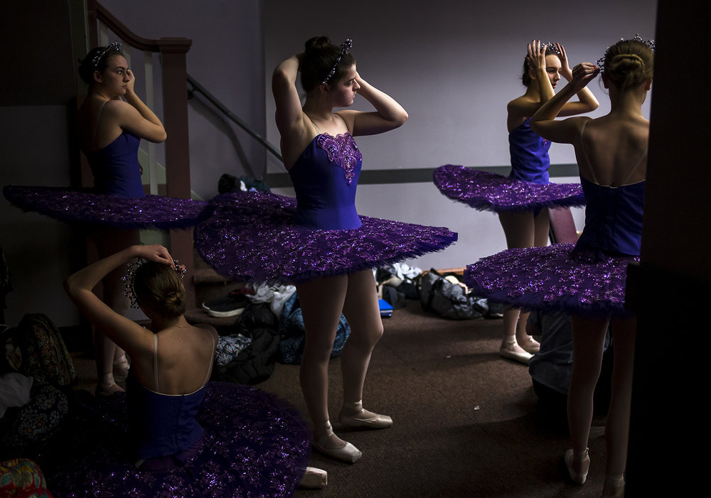 "Ella Paul, center, gets ready to perform as a ""star"" during rehearsals for the Springfield Ballet Company's spring production of Cinderella at the Hoogland Center for the Arts, Sunday, March 17, 2019, in Springfield, Ill. [Justin L. Fowler/The State Journal-Register]"