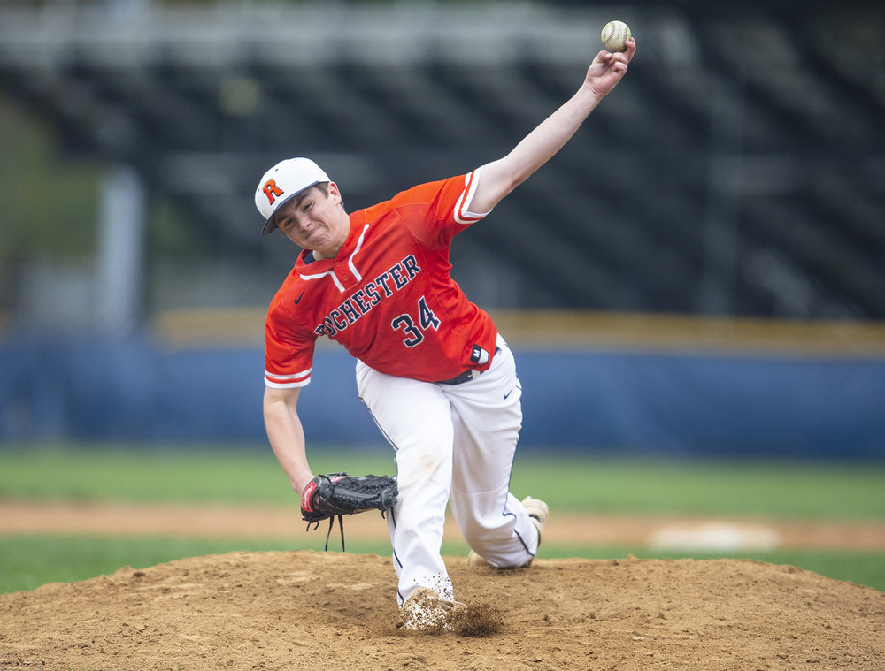 Rochester's Cameron Edmonson (34) delivers a pitch against Normal U-High in the 5th inning at Rochester High School, Tuesday, April 23, 2019, in Rochester, Ill. [Justin L. Fowler/The State Journal-Register]