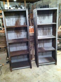 Barn Wood & Corregated Metal Book Shelves -  Get the Plans!