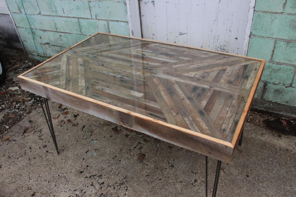 Lath and Barn Wood Table with Hairpin Legs