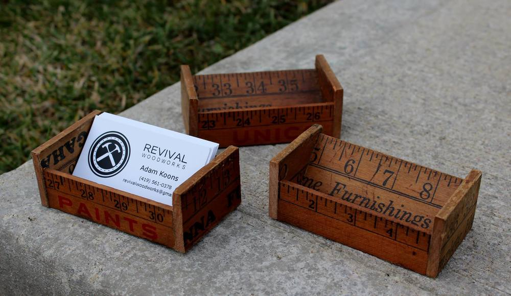 Projects revival woodworks yardstick business card holder buy one now reheart Images