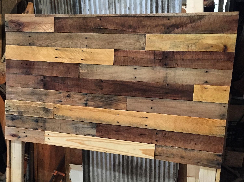 pallet wood headboard diy  revival woodworks, Headboard designs