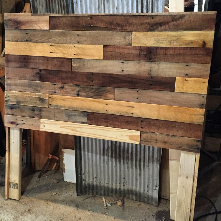 pallet wood headboard diy  revival woodworks, Headboard designs