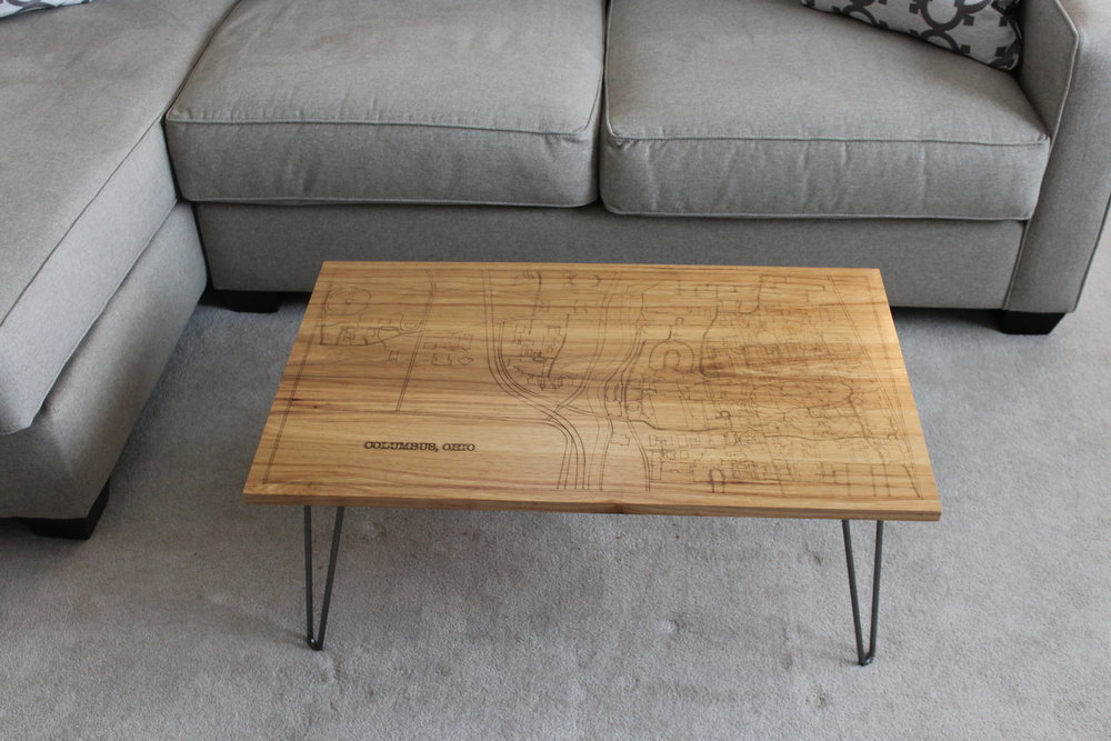 OSU Campus Laser engraved Coffee Table