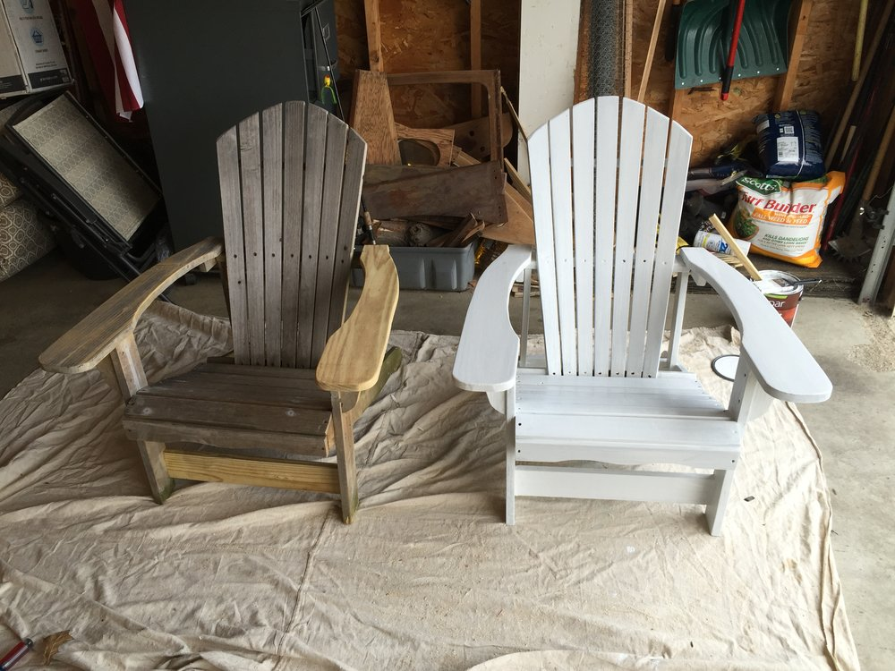After sanding  we hosed the chairs down and scrubbed with a brush  It you  were going to leave the wood natural  I would suggest a Mold and Mildew  scrub from. How to restore patio furniture   Revival Woodworks