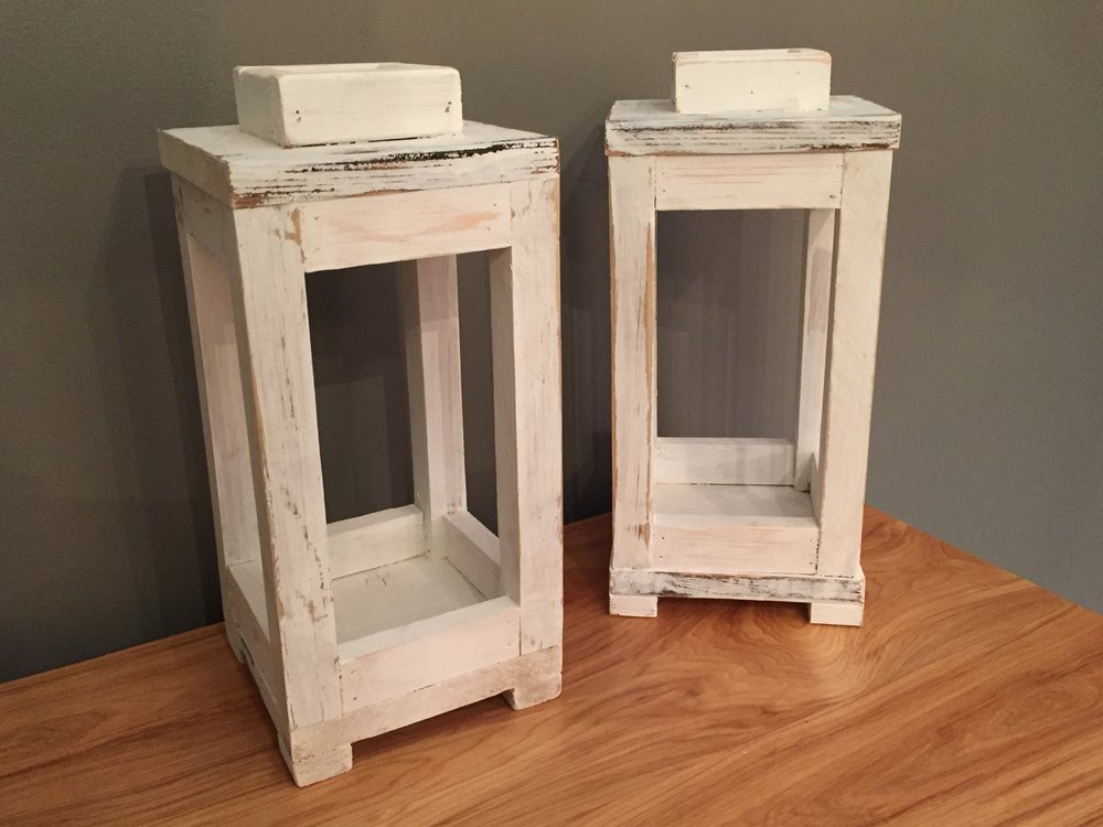 Rustic Wooden Lanterns - White paint on scrap wood