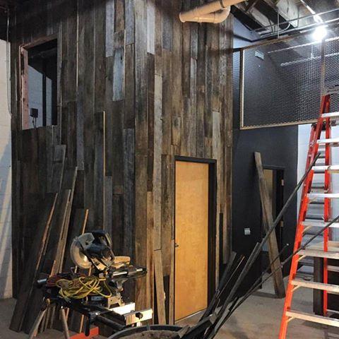 Vertical Plank Barn Wood Wall - in progress
