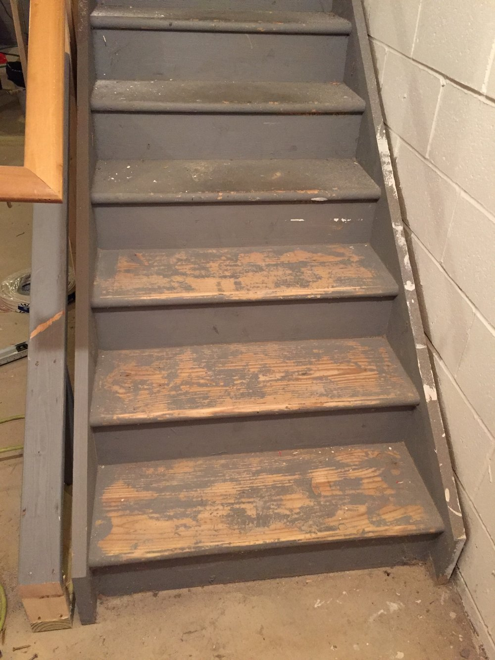 Starting to Sand the treads with 80 grit sand paper