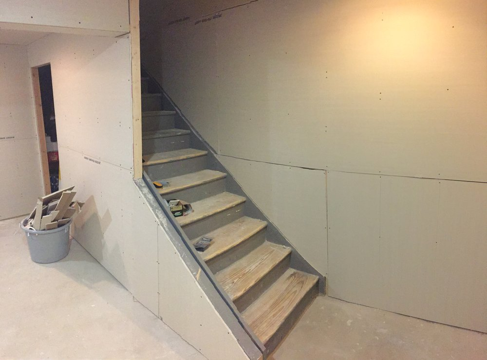 Sanded Stair Treads and New Drywall