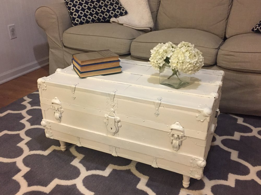 antique trunk coffee table makeover