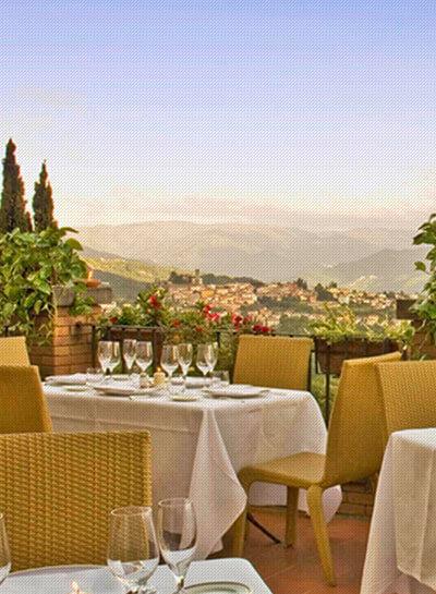 Restaurant Overlooking Tuscany