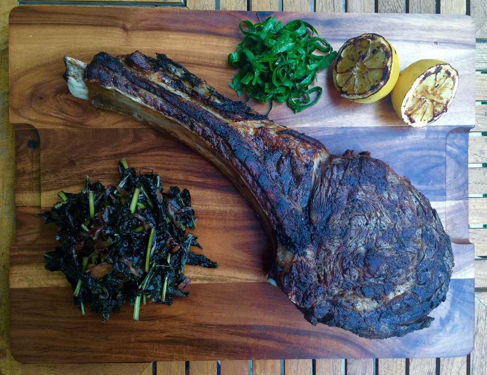 Tomahawk Steak, Horseradish Greens, Grilled Lemon,