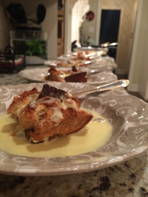 Simple Bread Pudding, Creme Anglaise