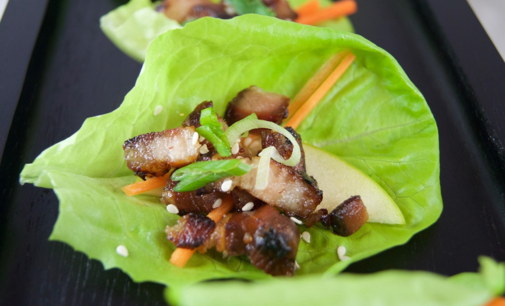 Crispy Cider Pork Belly Lettuce Wraps