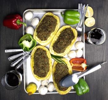 Lemon Thyme Mushroom Stuffed Spaghetti Squash