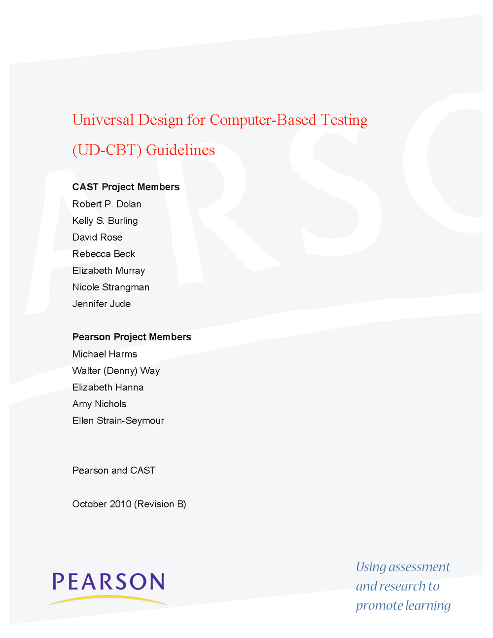 Thumbnail of research report Universal Design for Computer-Based Testing (UD-CBT) Guidelines