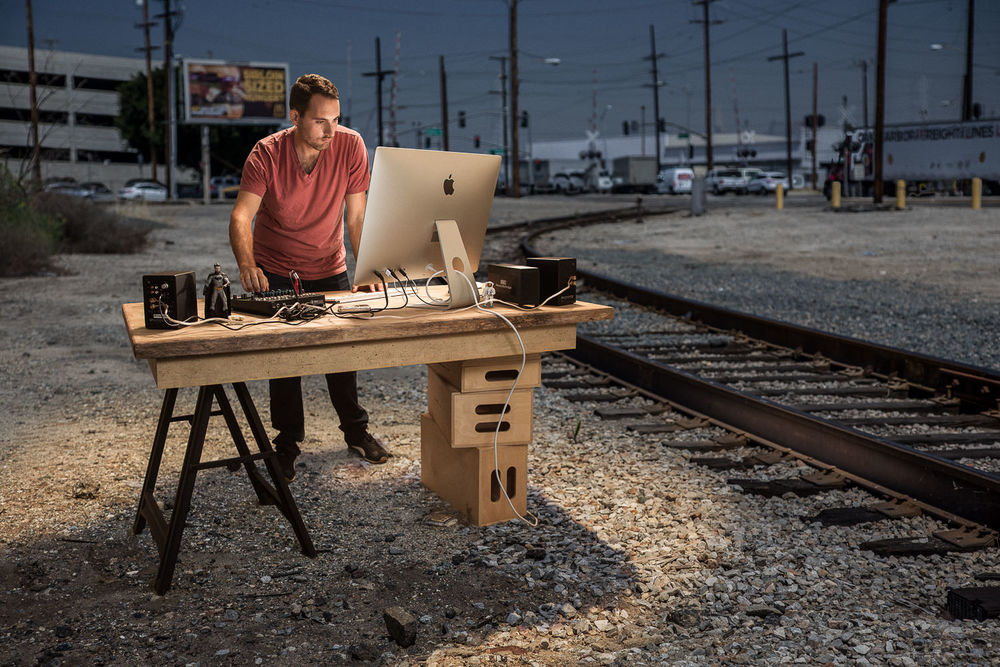 Pablo Leda seen editing ad spots on the wrong side of the tracks in Vernon California, True Detective's shady backdrop.