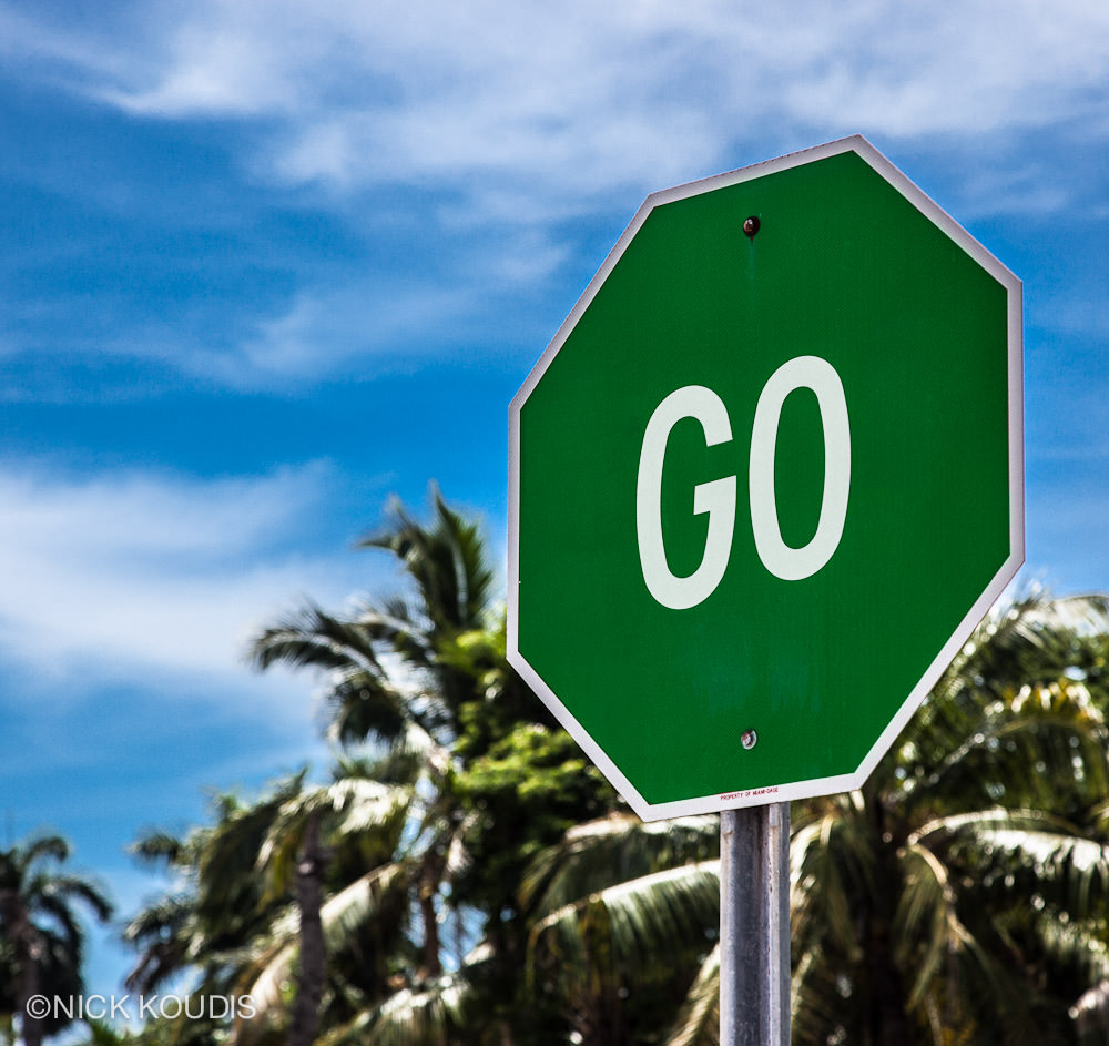 """GO"" Photograph, 19th St at Dade Blvd, Miami Beach, 2012 Museum Giclée Print, Acrylic mount 24""x24"""