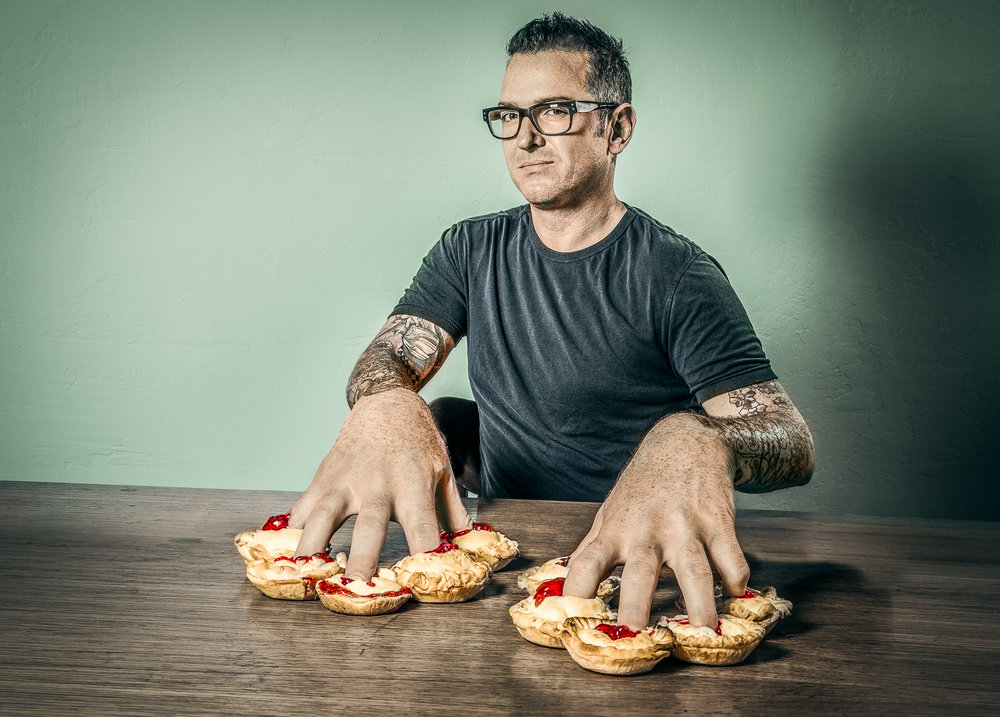 Jeffrey is Jammed   Fingers in many pies concept for a celebrity chef who had many simultaneous careers.  2012 Photocomposite Signed Limited Edition of 20    ORDER OR INQUIRE