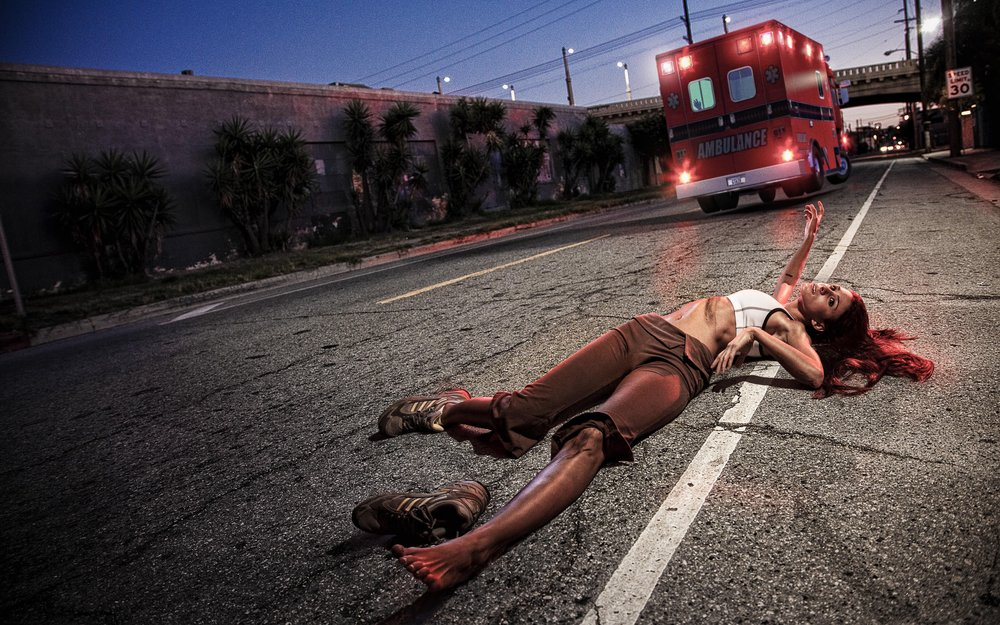 Ironic Death #4 — HIt and Run by Ambulance  2008, Digitally Manipulated Image. Signed Limited Edition of 20   ORDER OR INQUIRE