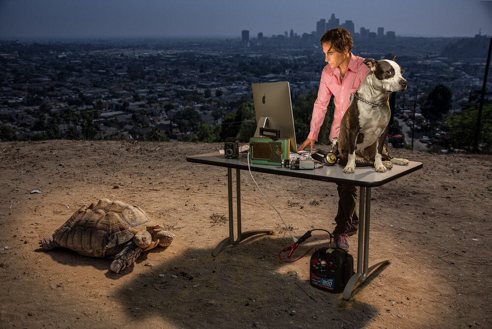 Film Editor Gabriel Wrye with his dog Biggie and his tortoise – cutting film in the wilds of Los Angeles.