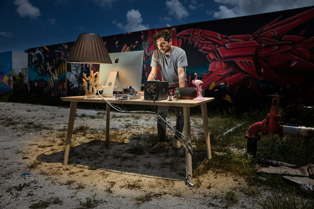 Film Editor Pablo Colella mastering the art. Wynwood Art District, Miami
