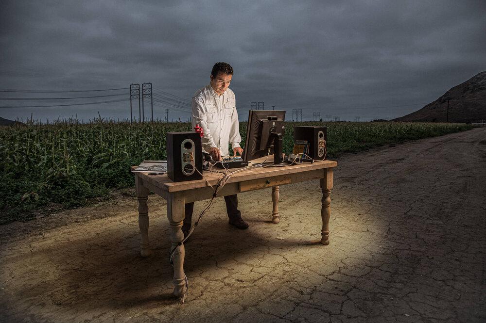 Film Editor Luis Carballar in his natural habitat, a cornfield.